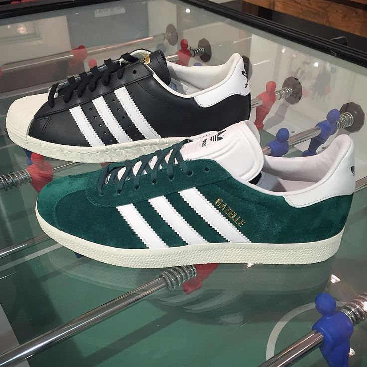 ONLINE NOW: the Superstar 80s in black leather and the Gazelle 91 in green suede from @adidasoriginals  #adidas #adidasoriginals #originals #newseason #AW16 #gazelle #gazelles #superstar #shelltoes #threestripes #igsneakers #igsneakercommunity #philipbrownemenswear