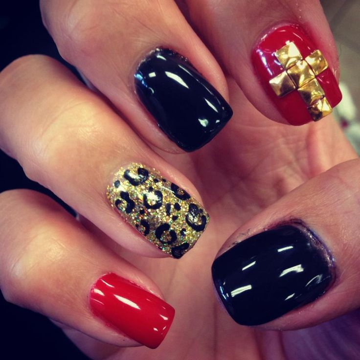 Red, Black & Gold Glitter And Leopard Print Nails With