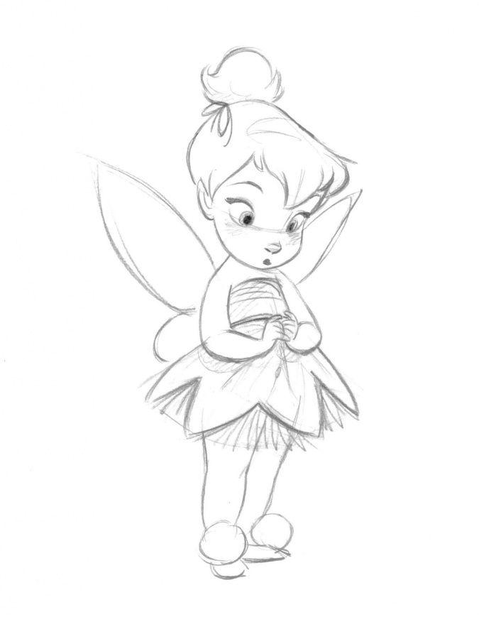 Маленькая фея Динь Динь в набросках