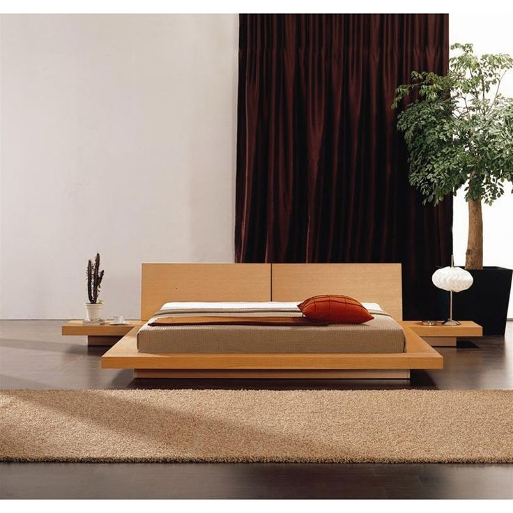 Modern Platform Bed with Headboard & 2 Nightstands