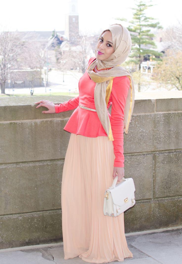 Tan pleated maxi skirt and long sleeve peplum top