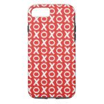 XO Kisses and Hugs Pattern Illustration red white iPhone 7 Case