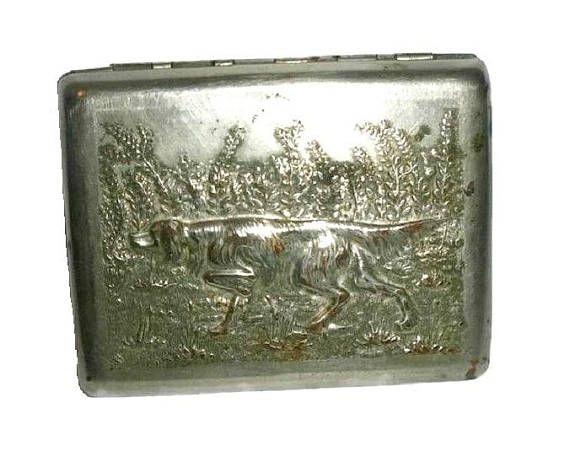 Antique RUSSIAN CIGARETTE Case Vintage Hunting Dog USSR Wallet