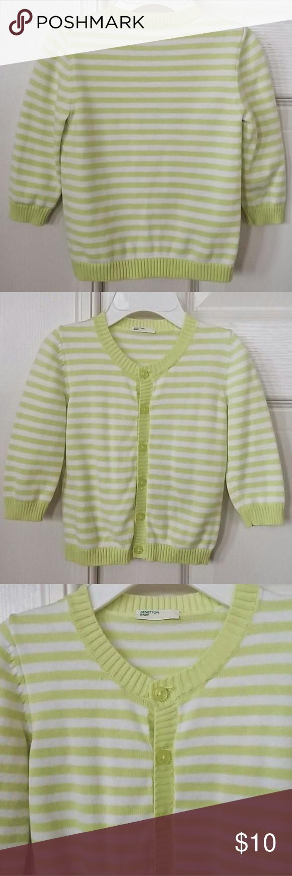 👫Benetton Baby cardigan sweater Benetton Baby cardigan sweater. Neon yellow/green and white stripe. 100% cotton. Size 6-9 mths. Like new condition. Benetton (United Colors of Benetton) Shirts & Tops Sweaters