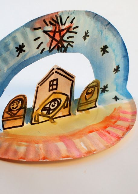 Super Easy Pop Up Paper Plate Nativity - Great Christmas craft for preschoolers and up!