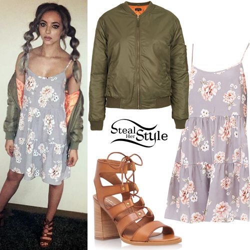 Jade Thirlwall posted a picture today wearing a Nobody's Child Vintage Floral Lace-Back Dress (£22.00), a Topshop Airforce Bomber Jacket ( $100.00 – similar style) and Carvela Kurt Geiger Kandice Lace-Up Sandals ($170.00).