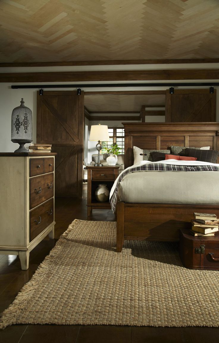 The Mount Vernon collection features more casual, distressed finishes with a unique two-tone finish option. A large scale farmhouse panel bed sets as a focal point among the finely detailed cases.