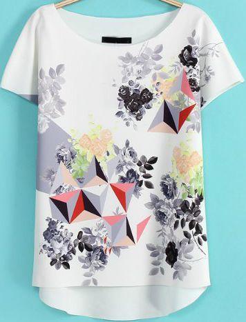 White Short Sleeve Floral Geometric Print T-Shirt 15.00