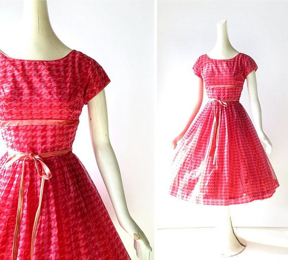 1950s Party Dress / Houndstooth Dress / 50s by SmallEarthVintage