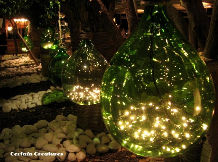 boccione con luci - green grass carboy with lights