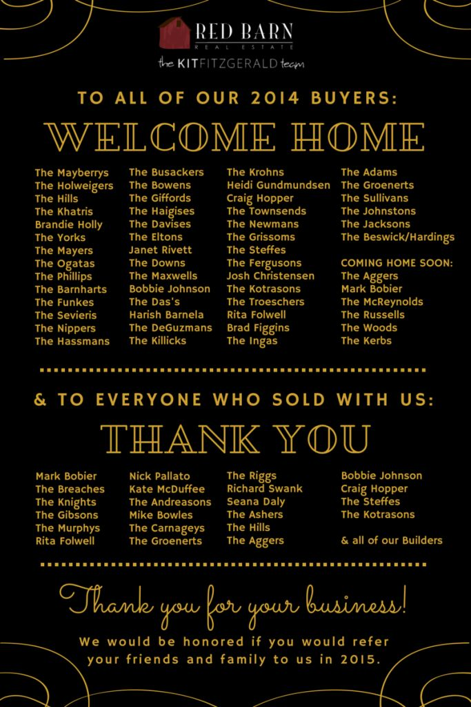 Thank you for a fantastic 2014   Red Barn Real Estate