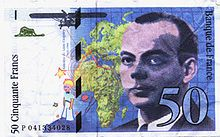 The Little Prince at bottom, and a portrait of his creator on a French 50-franc banknote (1993).