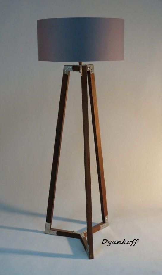 Handmade tripod floor lamp wooden stand in dark wood color with metal elementsdrum lampshade different colors lampshademodel ivanina