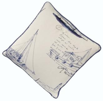Bring #French Riviera Chic to your home with the Blue Sailboat Square #Cushion made by Jim Lawrence. This beautifully #illustrated fabric can also be made up into curtains or a bolster cushion.