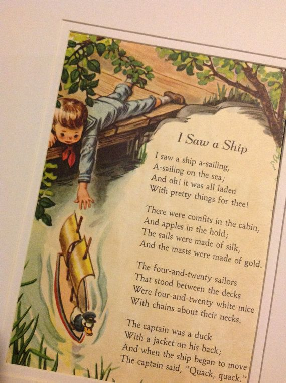 Childrens Wall Art Vintage Nursery Rhyme Ilration I Saw A Ship Little Golden Book
