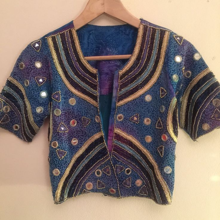 Jazzy beaded/sequinned Festival Top From India, Size 8/10