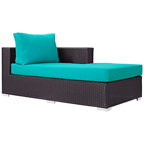 Frisco Right-Arm Chaise Turquoise Outdoor Chaise Longues (£410) ❤ liked on Polyvore featuring home, outdoors, patio furniture, outdoor loungers & day beds, outdoor garden furniture, woven outdoor furniture, turquoise outdoor furniture, outdoor chaise lounge and outside patio furniture