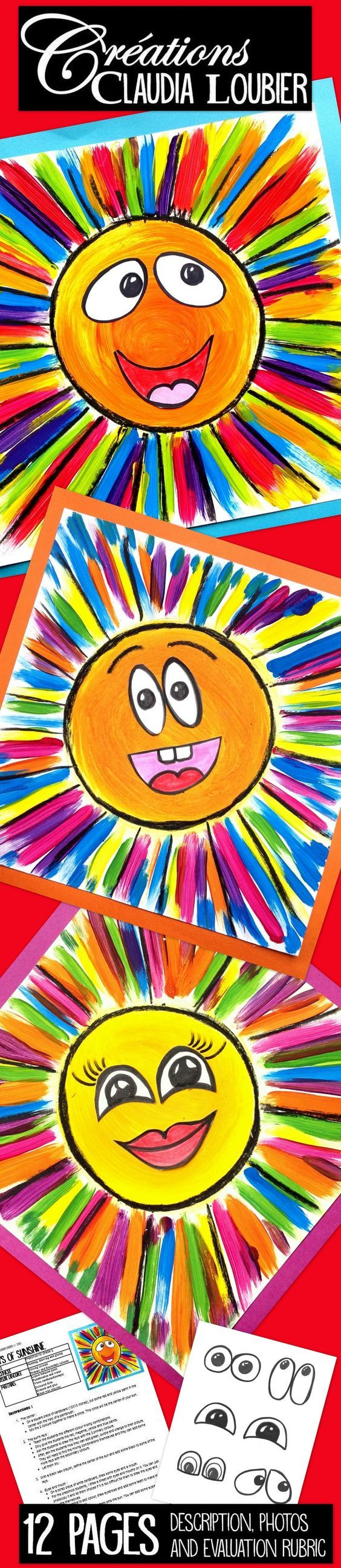 With this simple project, the students learn how to create their secondary colours by using the primary colours. For preschool up to Grade 2. You will need liquid tempera paint, white cardboard, and black wax crayons or felts. I drew some examples of eyes and mouths for the younger students. They can be inspired by my examples or just glue them on. Bring some sunshine into your classroom!: