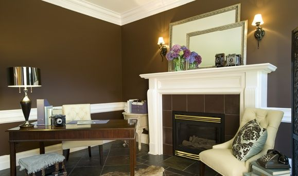Guest bath wall color - Ferret Brown by Benjamin Moore 2108-10. Check white wainscoting, silver framed mirrors, light sconces...
