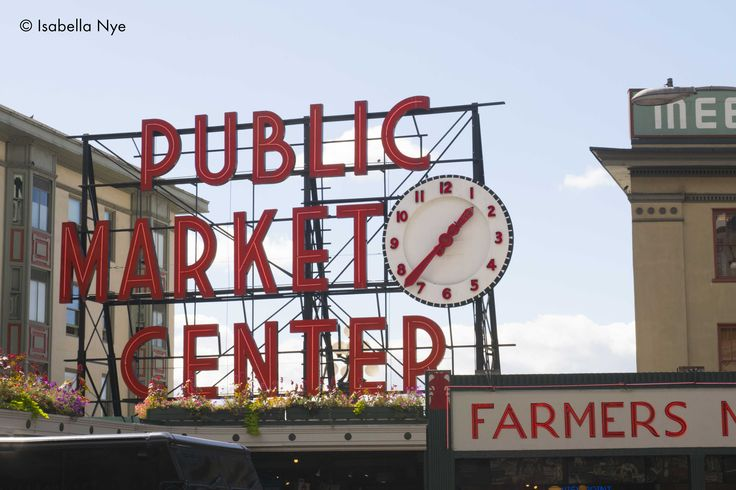 #sign #outdoors #colour #market #pikeplacemarket #seattle #washington #america #street #city #tourism #attraction #travel #daylight #vacation #clock #red #sky #farmersmarket #food #clothes #historical #photography #nikon #dslr #type #text #font