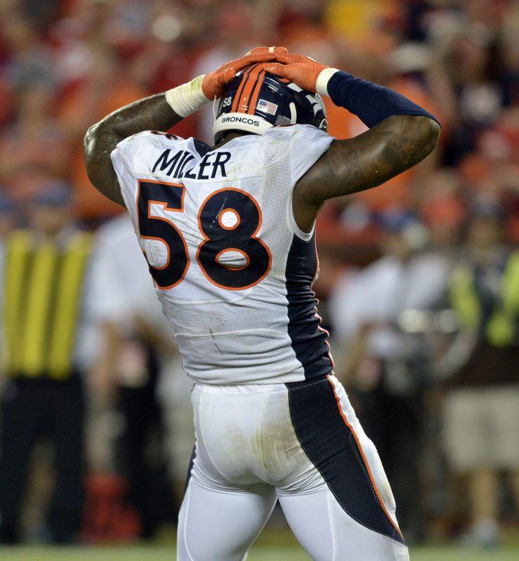Sep 17, 2015; Kansas City, MO, USA; Denver Broncos outside linebacker Von Miller (58) celebrates after sacking Kansas City Chiefs quarterback Alex Smith (not pictured) during the second half at Arrowhead Stadium. The Broncos won 31-24. Mandatory Credit: Denny Medley-USA TODAY Sports (3031×3280)
