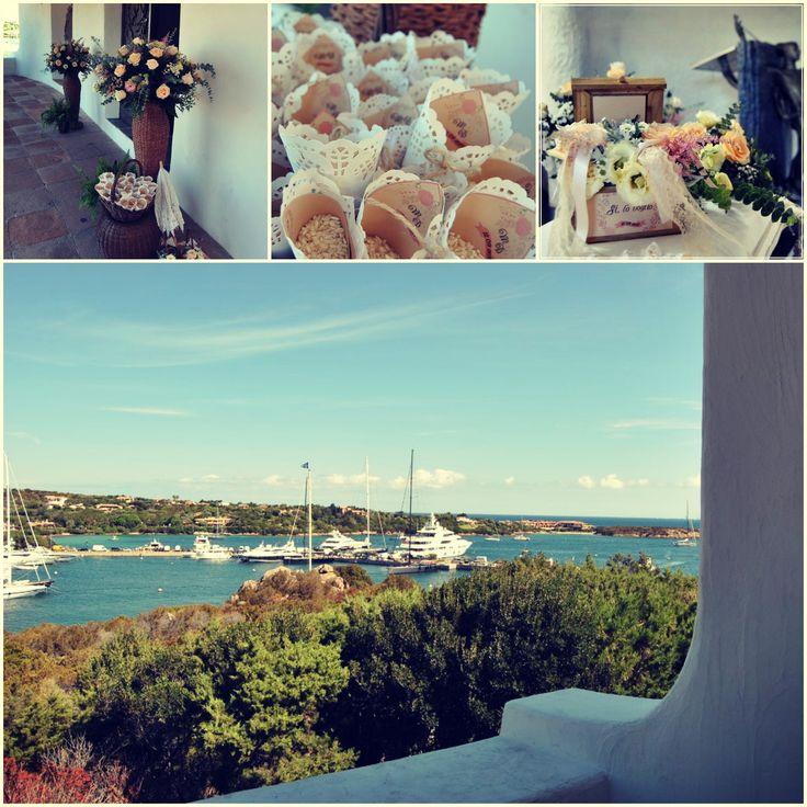 Suggestive collage of a wedding ceremony in Porto Cervo Blog Sara Events | Wedding Planner Sardegna