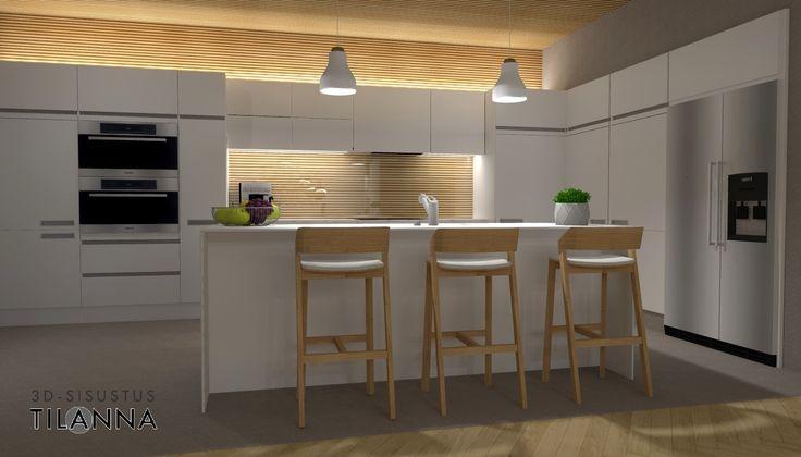 3D-visualisointi ja -sisustussuunnittelu uudisrakennukseen / moderni - skandinaavinen keittiö, sormipaneeli katossa sekä välitilassa lasin takana, valkoiset mattamaalatut uralliset kiintokalusteet, betonilattia, tuntomaalilla harmaaksi maalatut seinät, kalanruotoparketti, epäsuorana valaistuksena ledilista kaapiston päällä ja alla, baarituoli Merano (Ton)/ 3D-sisustus Tilanna