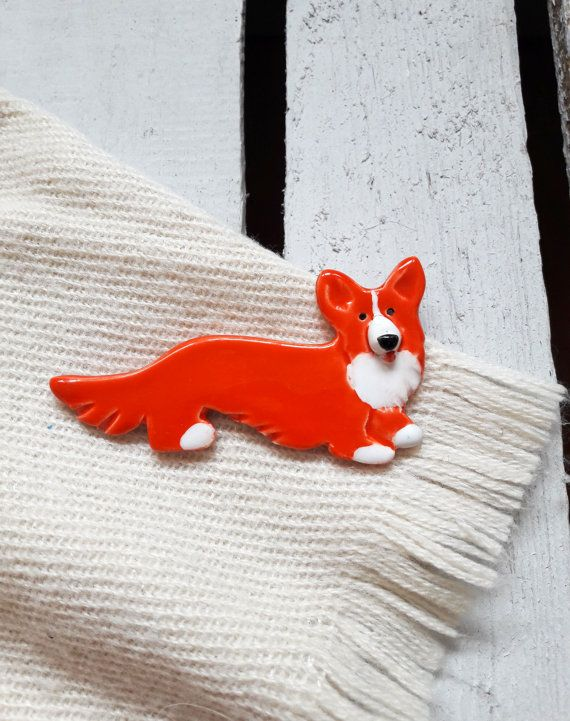 Dog shaped Brooch, ceramic jewellery, handmade  jewelery, Ceramic brooch, handmade Welsh Corgi, sweet ginger dog brooch from Lamabo