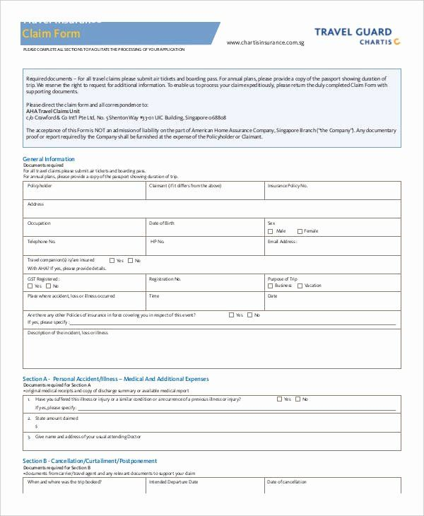 Travel Claim Form Best Of Claim Form Template In 2020 List Of