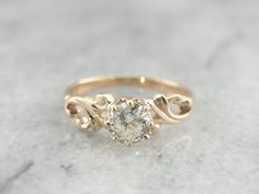 Swirling Victorian Diamond Rose Gold Engagement Ring