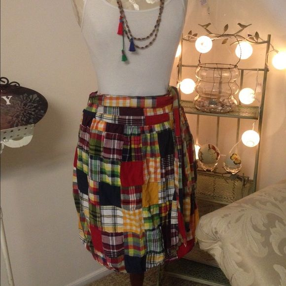 """American Eagle patchwork Skirt Super cute! American Eagle patchwork skirt. Length is to the knee, balloon style bottom, fully lined! Great for spring and summer! Very """" hippie chic"""" American Eagle Outfitters Skirts"""