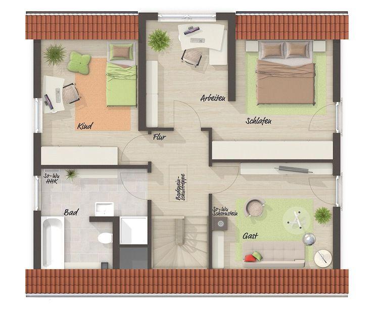 Einfamilienhaus Grundriss Obergeschoss klassisch mit