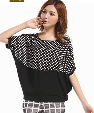 2014 big size clothing top loose polka dot patchwork batwing shirt short-sleeve t-shirt female m-XXXL