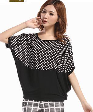 2014 big size clothing top loose polka dot patchwork batwing shirt short-sleeve t-shirt female m-XXXL