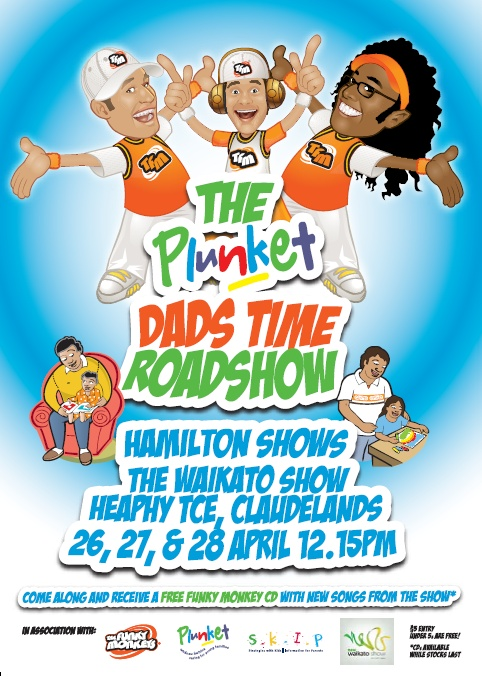 (New Waikato Show) Plunket have teamed up with NZ children's music super group The Funky Monkeys to bring a show with a difference. Not only fun for the kids these shows also share parenting strategies which help parents keep calm and cope with those challenging parenting situations. The theme of this year's show is 'Dads Time'  and celebrates the special role of Dads and men in children's lives. Fun for the whole family with a free  Funky Monkeys CD to take home too.