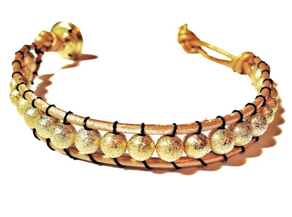 Gold Stardust Leather Woven Bracelet made by CHRISTIANIMAL: Nifti Things, Leather Woven, Stardust Leather, Jewelry Inspiration, Gold Stardust, Woven Bracelets