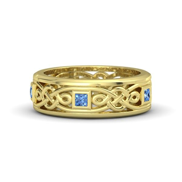 Men's 14K Yellow Gold Ring with Blue Topaz - Alhambra Knot Band | Gemvara
