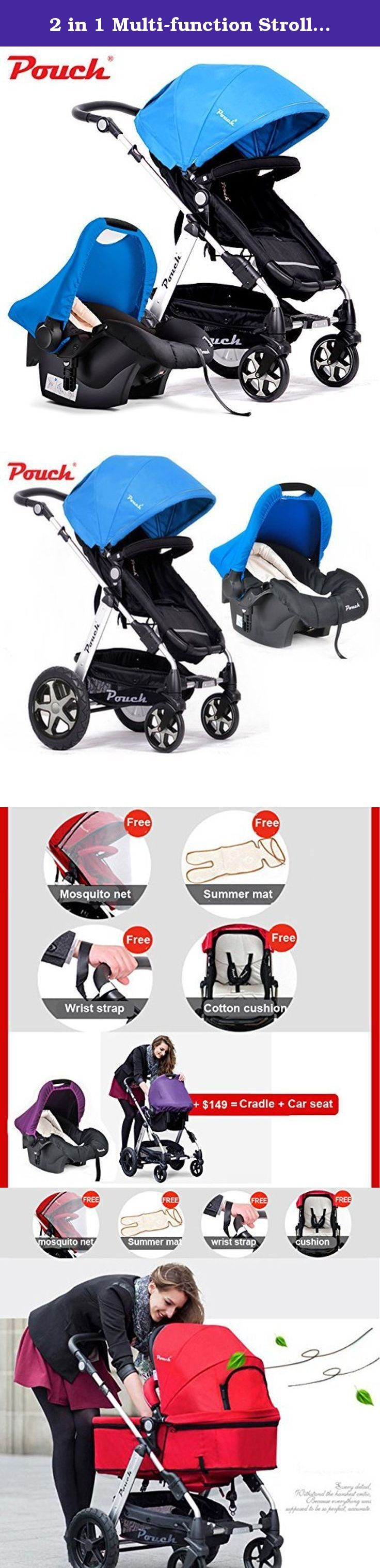 2 in 1 Multi-function Stroller, Stroller+ Car Seat + Cradle + Basket for 0-48 Months Baby, Can Sit & Lie Down, High Landscape, Folding, Bidirectional, 4- Wheels Pushchair (blue). 1. Baby stroller is high landscape: ground clearance 52cm, which will let your baby have a broad view, and also can protect your baby from automobile exhaust; 2. Can be used as chair: seat height is equal to the dining table, which is convenient for baby to eat ; 3. Stroller frame is made of aluminum alloy, and…