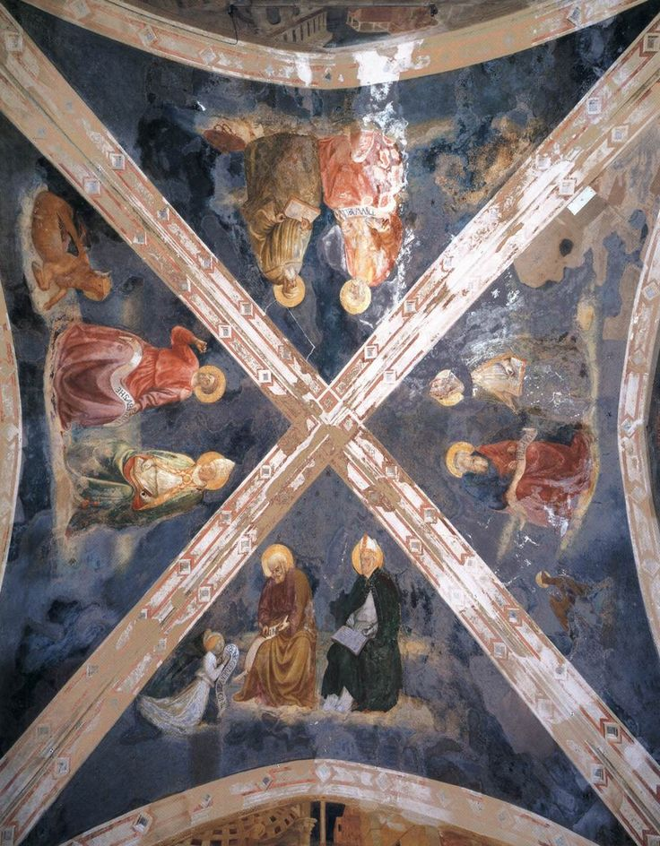 MASOLINO da Panicale Vaulting of the Chapel 1425-31 Fresco Castiglione Chapel, San Clemente, Rome