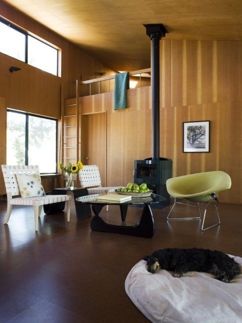 Loft for grandchildren Modern Cabin, Yolo County: The living room of this family cabin Ply walls, cork floor