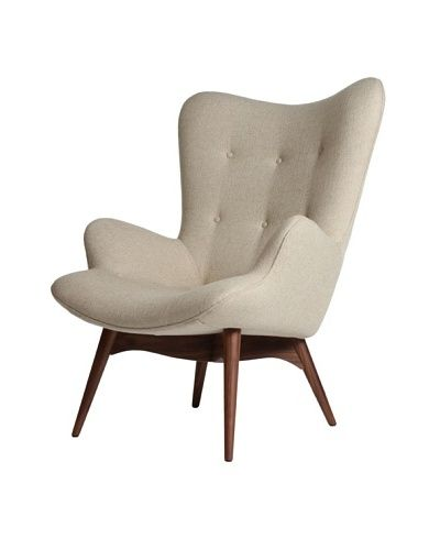 Linen Tufted Chair with Wooden Legs