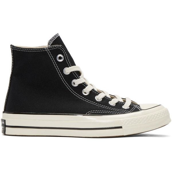 Converse Black Chuck Taylor All Star 1970s High-Top Sneakers ($72) ❤ liked on Polyvore featuring men's fashion, men's shoes, men's sneakers, black, mens black high top shoes, mens rubber sole shoes, mens lace up shoes, mens black lace up shoes and mens canvas sneakers