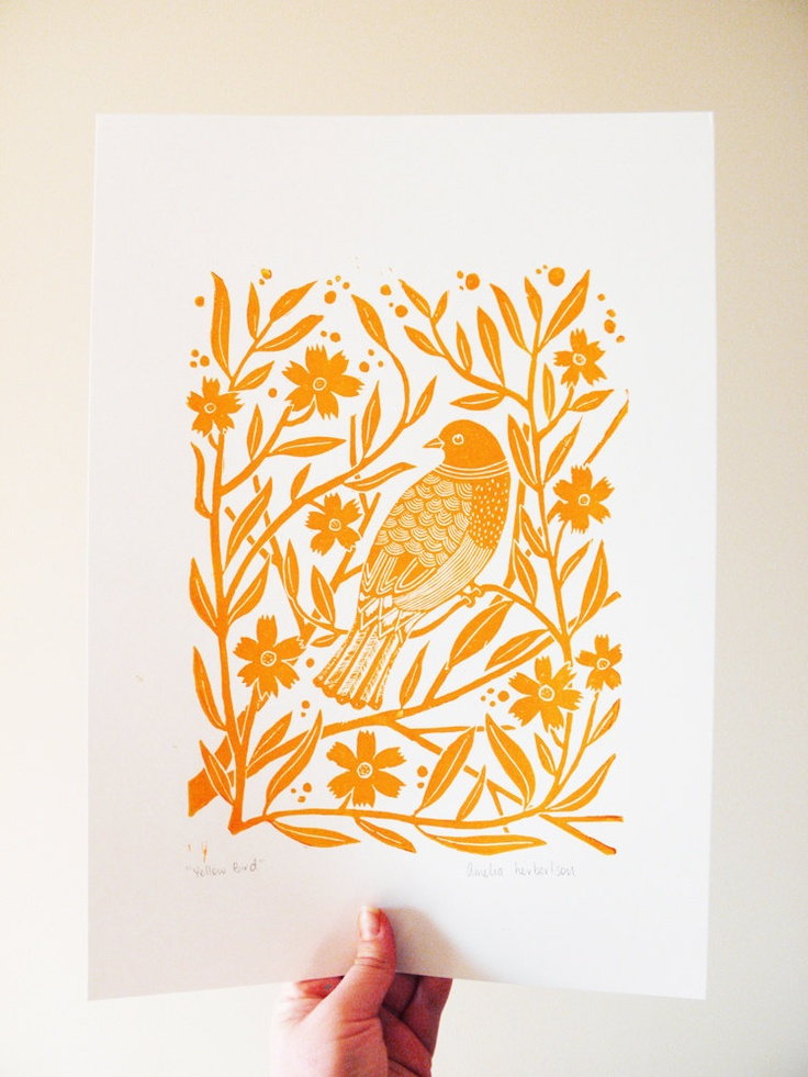 Lino Print - Yellow bird with flowers