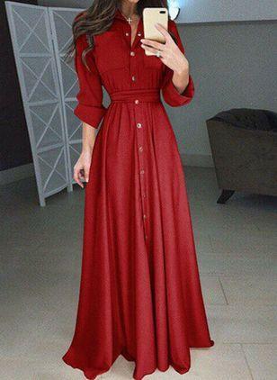 solid buttons collar maxi x line dress tageskleider maxi kleider
