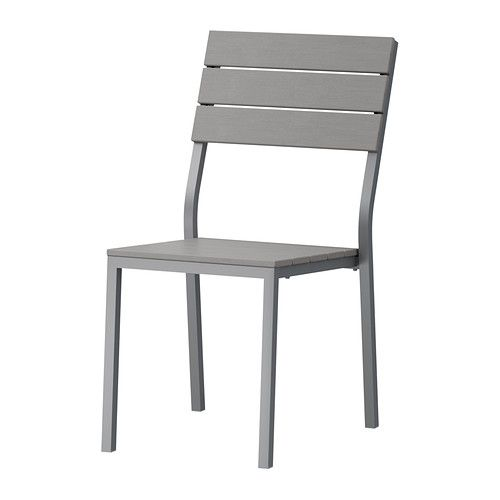 FALSTER Chair IKEA Slats of artificial wood, which looks and feels like genuine solid wood. Rustproof aluminum frame is both sturdy and lightweight.