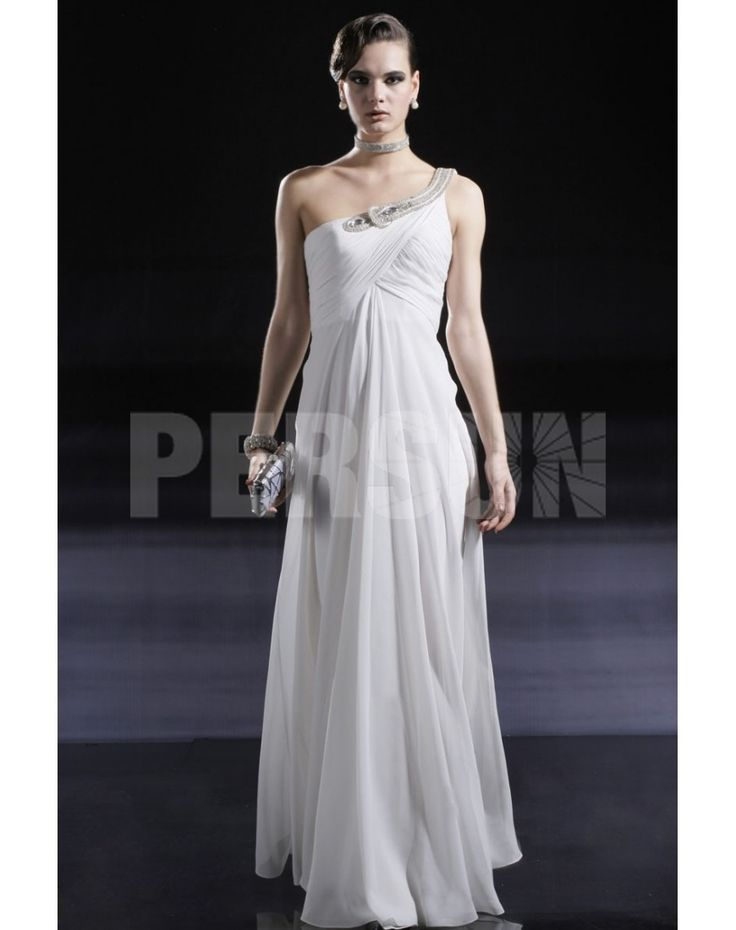 SHEATH ONE SHOULDER FLOOR-LENGTH WHITE CHIFFON EVENING DRESS