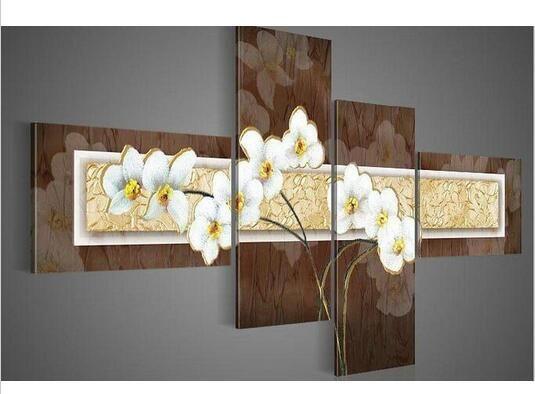Mão-pintada a óleo da arte da parede Tranquilamente elegante decoração flores brancas pintura a óleo Da Paisagem abstrata no quadro Jogo da lona
