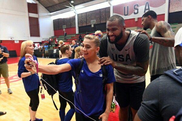 Demarcus Cousins Poses with Ashton Locklear of the USA Gymnastics Team