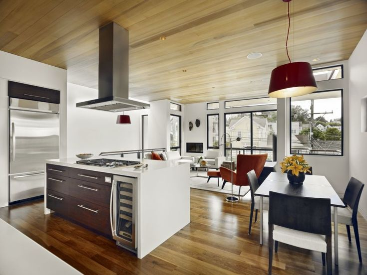 Kitchen Dining Area With White Wall Wooden Roof Kitchen Island Dining ...