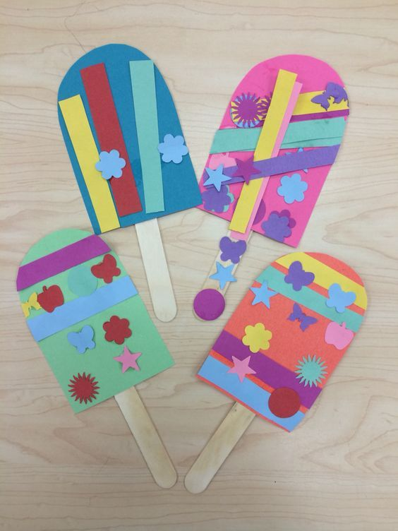 Popsicle Summer Art Craft. Perfect for end of the year classroom activities. Give students stickers, pieces of pre-cut paper, and glitter and glue. Stand back and see what they can create. Have them name the flavor of their Popsicle. (image only, no link)